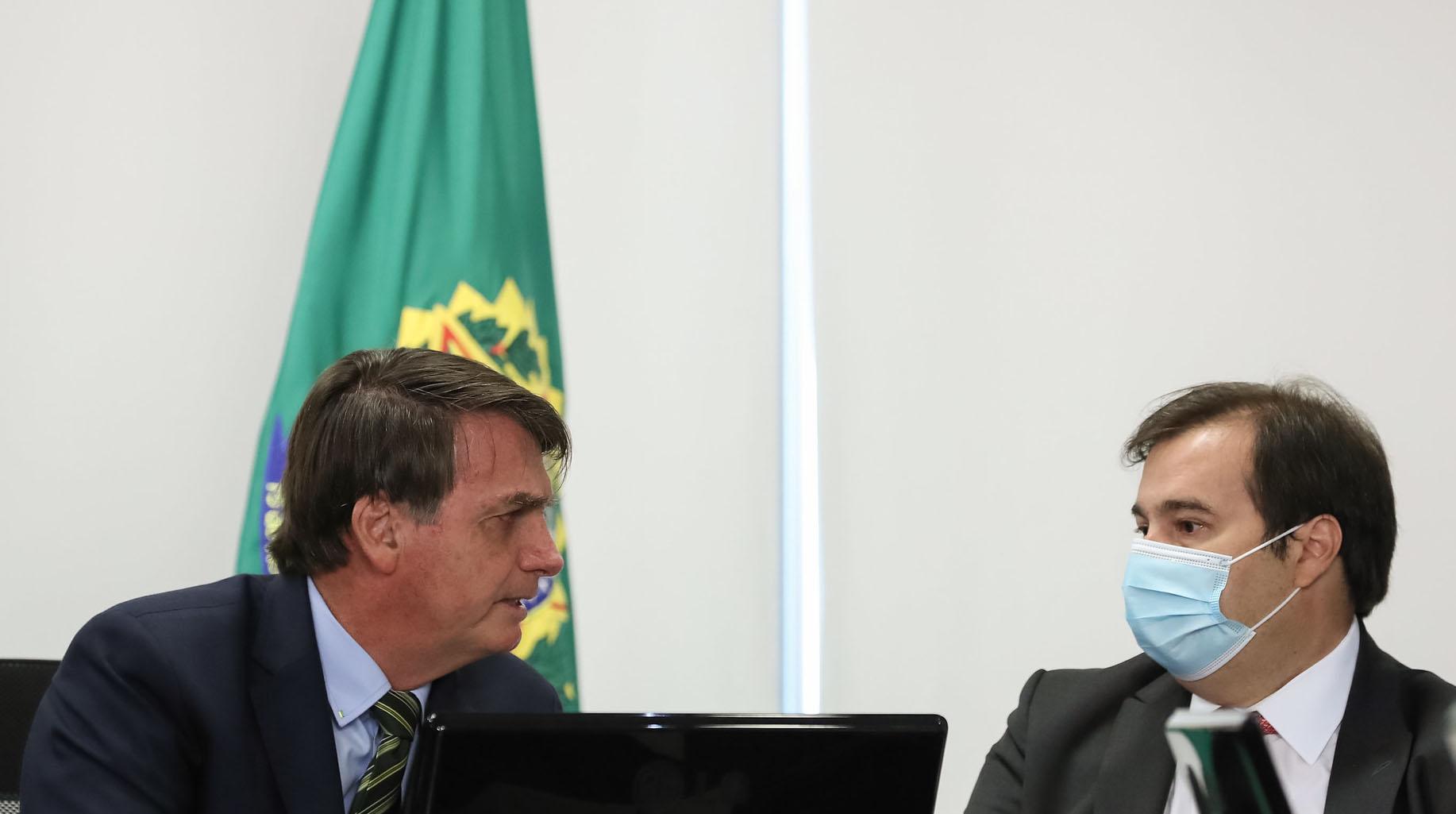 20.05.2020 - Brasília/DF - Jair Bolsonaro e Rodrigo Maia se reúnem em videoconferência com governadores dos estados. Foto: Marcos Corrêa/PR.