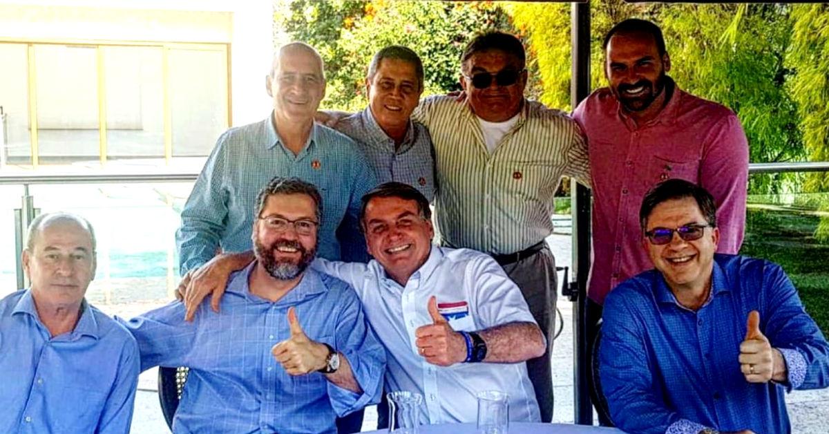7.7.2020 - Brasília/DF - Jair Bolsonaro e comitiva participam de almoço com Todd Chapman. Foto: divulgação.